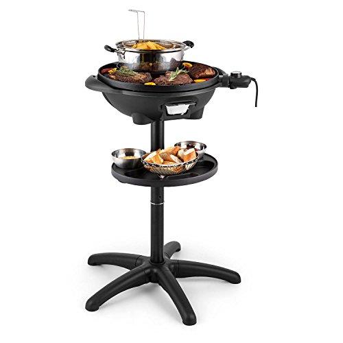 Klarstein grillpot griglia elettrica multifunzione 1600w griglia in piedi da tavolo 40cm ghisa nera