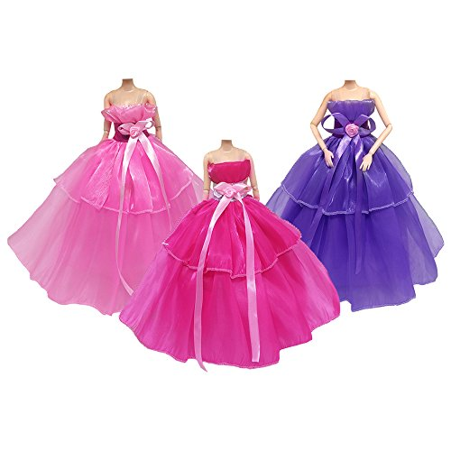 Hochzeit Kleid für Barbies Puppe Trailing Rock Spielzeug Geschenke FO Little Girl