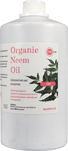 PINK SUN Organic Neem Oil 1 litre / 1000ml Pure Cold Pressed Virgin Unrefined