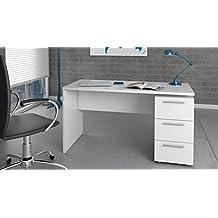 Habitdesign 004605BO - Mesa de despacho 3 cajones, color Blanco Brillo, medidas: 74 x 138 x 60 cm de fondo