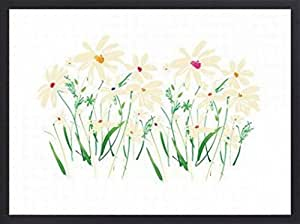 Flowers Poster Art Print and Frame (Wood) - Marguerites And Daisies, Summer Thornton (32 x 24 inches)