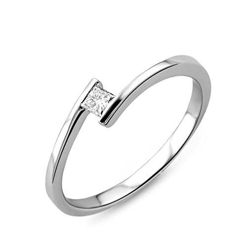 Miore Ring Damen Solitär Verlobungsring  Weißgold 18 Karat / 750 Gold  Diamant Brilliant  0.10 ct