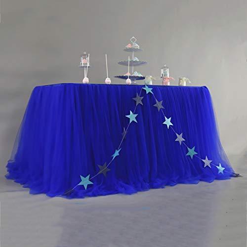 LXP Tischdecke Rechteck Tischabdeckung Hochzeit Bankett Tischrock, Gaze Tüll Tischdecke, Mädchen Prinzessin Dekoration Tischrock Colors 7 Farben (Farbe : Blau) - Blau Tischdecke Rechteck