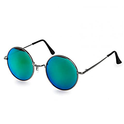 CASPAR SG038 große runde Retro Lennon Sonnenbrille / Rundbrille / Hippi Brille / Nickelbrille - Übergröße , Farbe:silber / grün