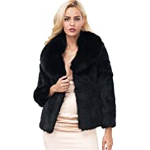 Mujer Invierno Abrigo, Longra ❤️ Negro prendas de vestir las mujeres de otoño invierno elegante cálido abrigo largo de piel sintética de pelo chaqueta Outwear