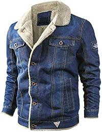 Raylans Herren Denim Jeansjacke mit Fellkragen Jacke Mantel Winterjacke  Wintermantel Cowboy Jack… 49b6455d86