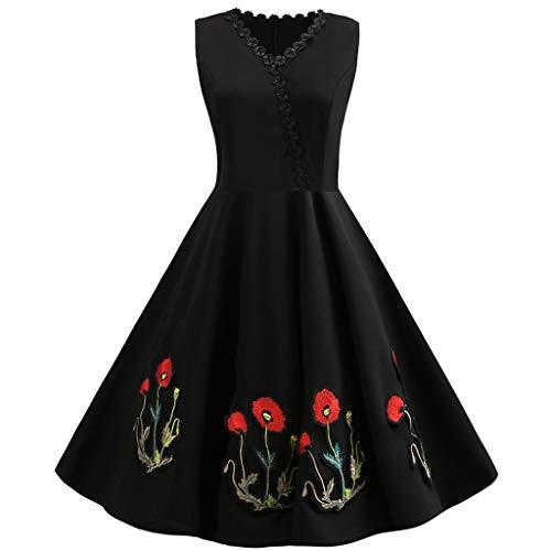 en Räumungsverkauf❤❃ ,Frauen Vintage in den 50er Jahren Retro Sleeveless Stickerei Evening Party Prom Swing Dressby ()