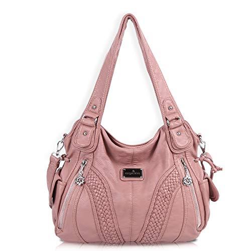 angel kiss Hobo Tasche Schultertaschen Handtaschen Umhängetaschen Henkeltaschen Fredsbruder Taschen Damen Weiches Leder (1555-Rosa)