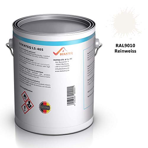 Bekateq Poolfarbe LS-405, 2,5KG, RAL9010 Weiss glänzend, 2-K Farbe für Schwimmbecken, Pools oder Teiche aus Glasfaserkunststoff, GFK oder Polyester