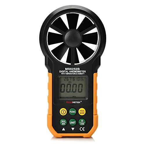 Protech MS6252B Digital anemómetro Humidity Temperature Testers Meters USB Handheld LCD Velocidad del viento Medidor de medición del volumen de aire Backlight