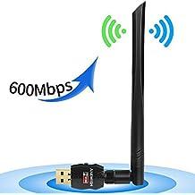 ANEWISH® Adattatore Antenna USB WiFi a Lunga Distanza Chiavetta Wifi con Antenna 5dBi Ricevitore WiFi 600Mbps 802.11ac Dual Band 2.4G/5.8G Scheda Wifi Supporto Windows 10/8/7 / Vista / XP / 2000, Mac