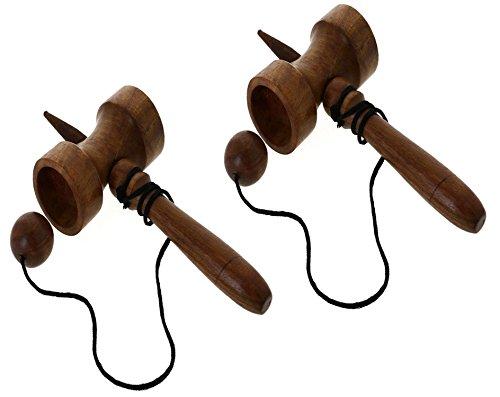 Set di 2 - legno naturale jumbo kendama - kendama tazza d'archi e giocattolo di legno palla - riflessiva obiettivo giocattolo gioco -17.8 x 8.9 x 5.1 cm