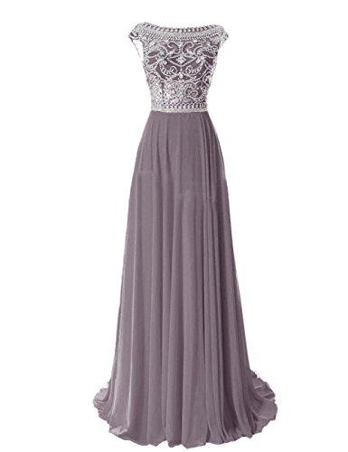 Erosebridal Damen Ballkleid Perlen Formale Abendkleider Grau DE38 - Ballkleid Mit Perlen Mieder
