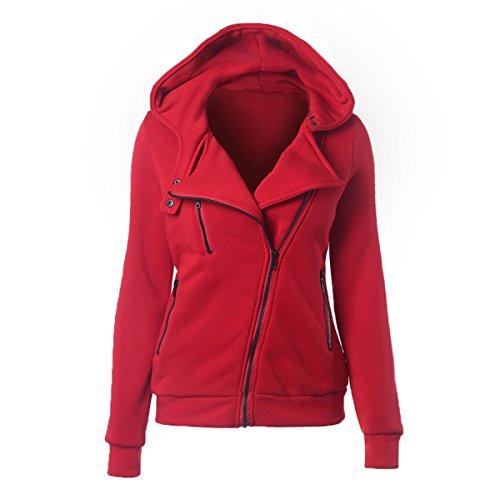 Damen Mädchen Herbst Winter Langarm Kapuzenpullover Hoodie Mantel Streetwear mit die linke Seitenreißverschluss Im 9 Farben (Pioneer Muster Kleid)