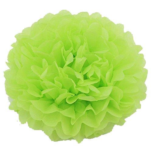 Pompoms Pompons 5er/10er 25cm Papier Blumen schöne Dekor DIY für Geburtstag Hochzeits Babyshower Party Baby-Duschen Wohnungdeko (Apfelgrün, 10) ()