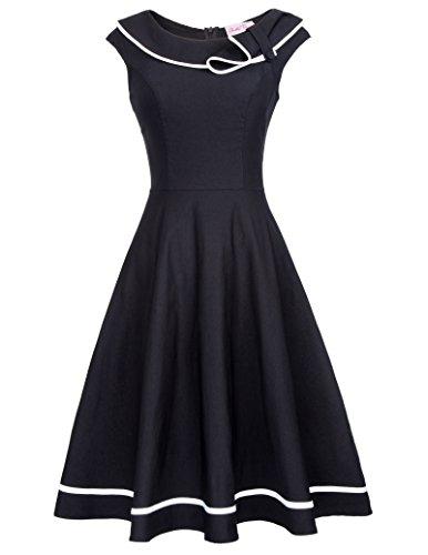 50er retro petticoat kleid damen vintage kleid knielang moderne kleid BP381-1 S