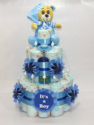 """Windeltorte """"It's a Boy"""" + Bär blau"""