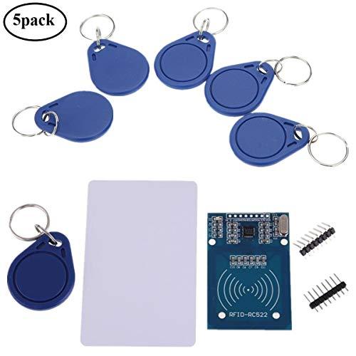IZOKEE Kit RFID RC522, Module Carte de Lecteur MFRC-522 RF IC avec RFID Carte Puce Chip S50 13.56MHz pour Mifare Arduino Raspberry Pi, 5pcs Porte-clés Supplémentaires (5 x RFID Kit)