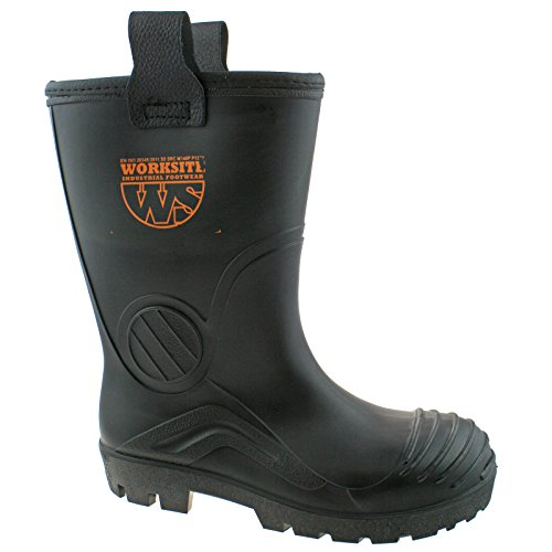 Worksite Mens Black Industrial Safety Steel Toe Cap Rigger Wellington Boots SS630SM UK14 (EU48) Steel Toe Wellington Boot