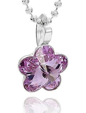 butterfly Mädchen Silberkette Sterlingsilber 925 original Swarovski Elements Blume Anhänger lila längen-verstellbar...