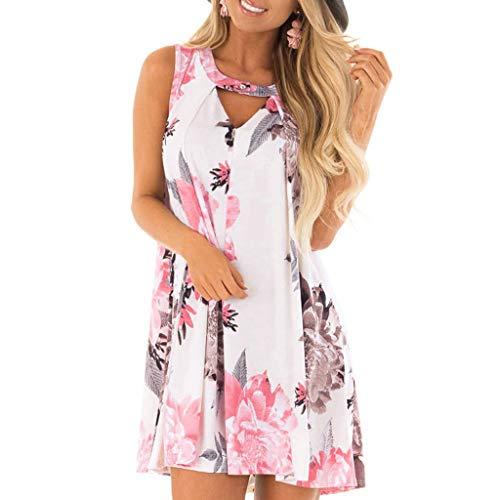 amenmode Blumendruck Sommerkleid Ärmellos Ausgeschnitten Beiläufige Lose Sommer Trägerkleid Midi Kleid (L, Weiß) ()
