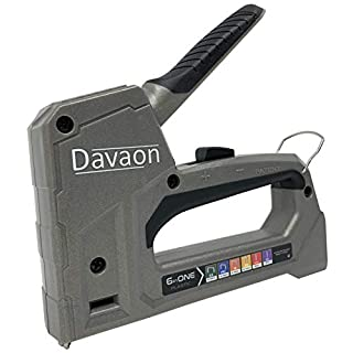 Davaon No Switch 6 in 1 Multi Stapler Tacker Gun - Auto Detects Staple Type & Size - Anti-Jam - Durable - Versatile for Garden, Hobby, Upholstery, Carpet, Fabric, Allotment, Education, DIY