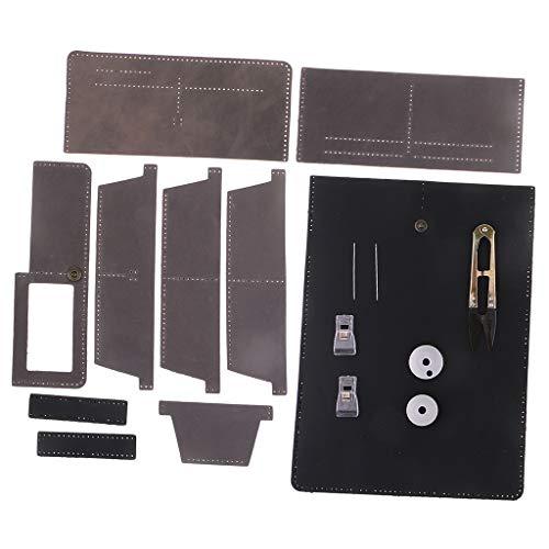 Herren Schwarz Leder Hand Nähen (IPOTCH 1 Set DIY Leder Geldbörse Kit, Portmonaise, Familie und Freunde - Schwarz + Grau)