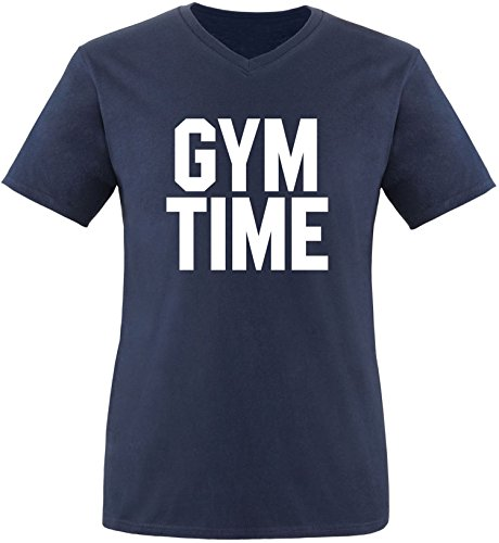 EZYshirt® Gym Time Herren V-Neck T-Shirt Navy/Weiss