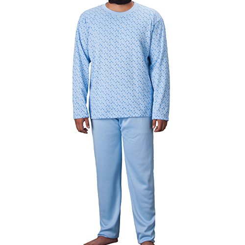 Lucky Herren Thermo Pyjama Rundhals angerauht mit Paisely Muster Schlafanzug Winter, Farbe:Hellblau;Größe:XXL