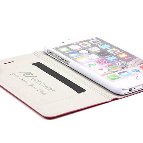 Urcover® iPhone 6 / 6s [ KAMERA-SCHUTZ ] Handy Schutz-Hülle | Kartenfach & Standfunktion | DOT Case Pink | Wallet Cover Tasche | Smartphone Zubehör Etui speziell für Apple iPhone 6 / 6-s Pink