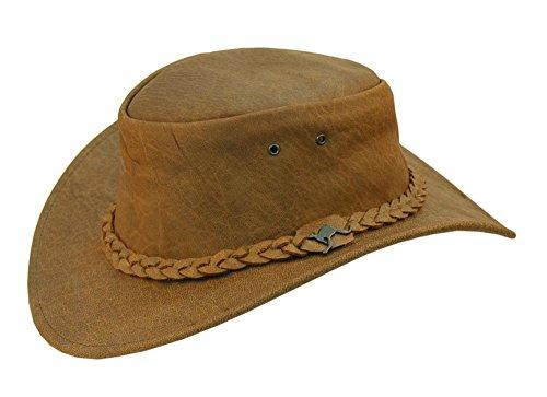 Lederhut mit geflochtenem Hutband in braun und beige, echter Outback-er Hut von Kakadu Australia 2.Wahl - Erwachsenen Safari Hüte