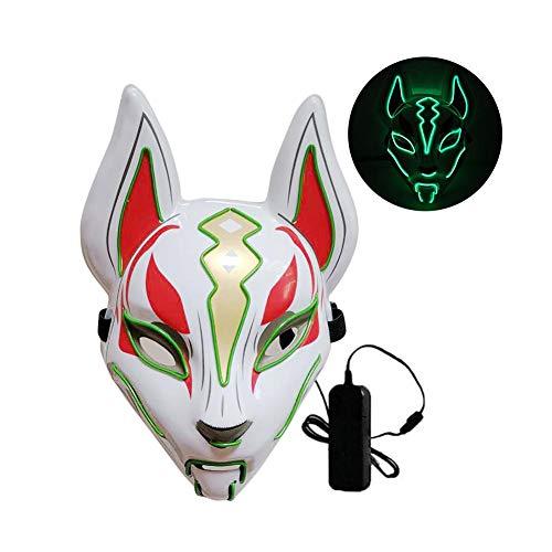 Halloween Fuchs Maske, Leuchtende Fuchs Drift Maske Halloween Kaltlicht Maske Prom Party Fuchs Maske Kopfbedeckungen LED Leuchten Masken Für Party Cosplay Halloween Kostüm Requisiten - LED Fuchs Maske (Fuchs Maske Kostüm)
