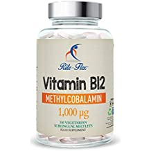 Vitamina B12 Metilcobalamina 1000mcg, 180 Vegetarian Vegan Sublingual Meltlets, 6 Meses Supply High Strength