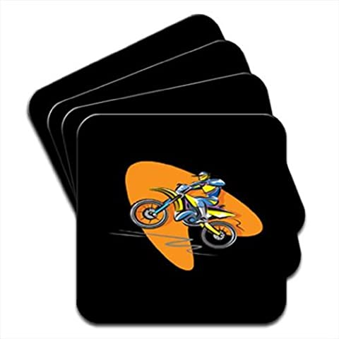 Motocross Racer Riding a Motorcycle Set Of 4 Coasters by