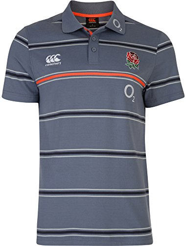 CANTERBURY Herren England Baumwolle Stripe Jersey Polo Shirt–Folkstone Grau, klein