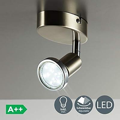Faretto LED da soffitto, attacco GU10, 3 watt, 250 lumen, orientabile, con anello cromato, colore: argento opaco
