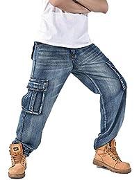 4fe3838551173 Hombre Hip Hop Hipster Rap Style Baggy Cargo Jeans Único Chino Pants  Pantalones De Trabajo Denim Pants Harem…
