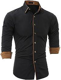 089ecaab Rrimin Mens Personalized Edge Long Sleeve Cardigan Leisure Fit Shirts Black