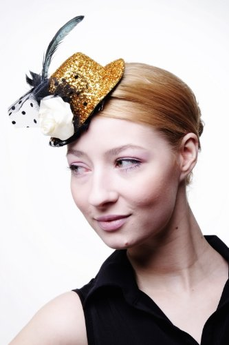 Preisvergleich Produktbild DRESS ME UP – Fascinator Miniatur Hut Mini Zylinder Gold Lametta Tinsel Damen Burlesque Feder Tüll H33