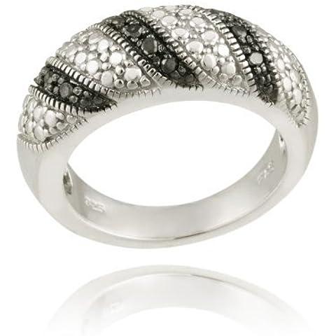 Plata esterlina Anillo acento diamante negro rayas