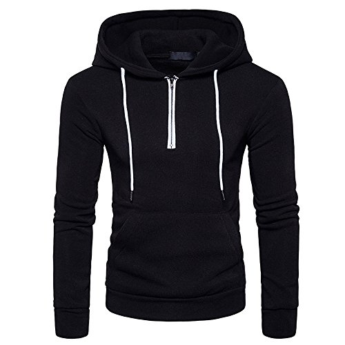 Herren Kapuzenpullover feiXIANG Pullover Basic Kapuzenpulli Outwear Kapuzenpulli mit Kapuze Winter Outwear(Schwarz,S)