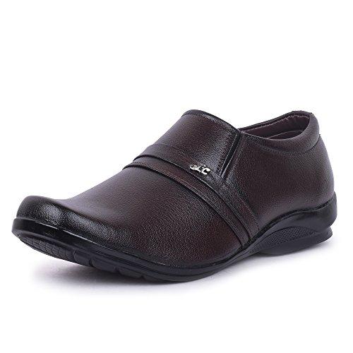 Fanvi Men's Brown Synthetic Slip On Formal Shoes
