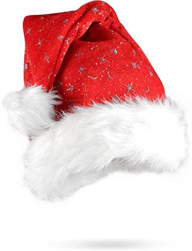 Frau Haare Kostüme Für Rote (Weihnachtsmütze Nikolausmütze mit Pelzrand und Glitzer in rot Farbe Rot Größe 1)
