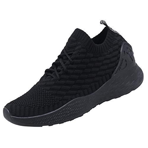 Sneakers Uomo Sportive Calze Scarpe da Corsa Slip on Walking Calzature da Ginnastica Low Top Formatori Passeggio Maglia Atletiche Comode Nero 44
