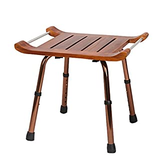IAIZI Bath Chair Bath Bench Seat Lightweight Height Adjustable Shower Stool with Handle Wood Seat- Applicable to The Elderly, Pregnant Women, The Disabled Bath seat Bench