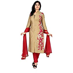 Queen of India Women's Cotton Silk Anarkali Salwar Suits (Multicolour, Free Size)