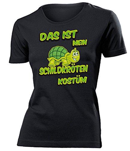 Schildkröten Kostüm Kleidung 4919 Damen T-Shirt Frauen Karneval Fasching Faschingskostüm Karnevalskostüm Paarkostüm Gruppenkostüm Schwarz L