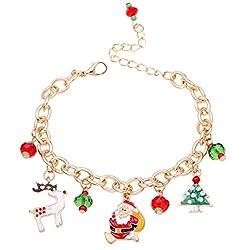 Hosaire Golden Bracelet Santa Claus Pendant Chain Bracelet Womens Girls Party Wedding Jewellery
