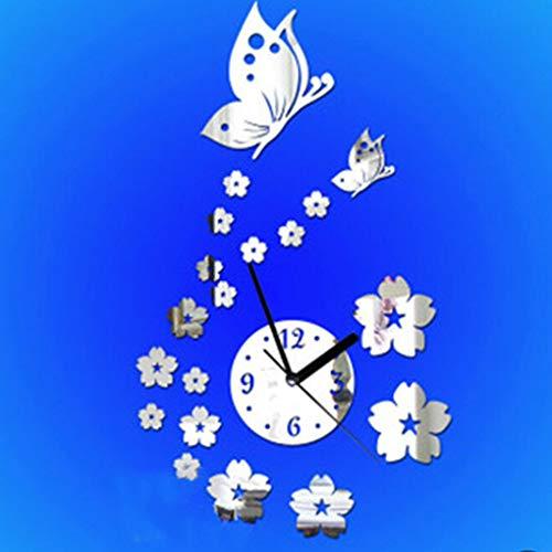 Level Arte Reloj Pared Mariposa Flor 3D acrílico