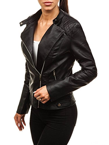 BOLF Mujer Chaqueta Cuero Ecológico FEIFA Fashion 8857 Negro L [D4D]